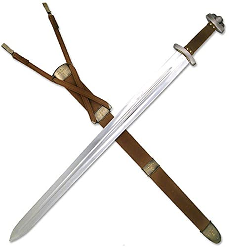 Schwert echt Metall Wikingerschwert mit Gürtel und Scheide...