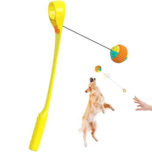 Qkoimpnrd Hundeballwerfer mit einziehbarem Seil für bis zu 107 m...