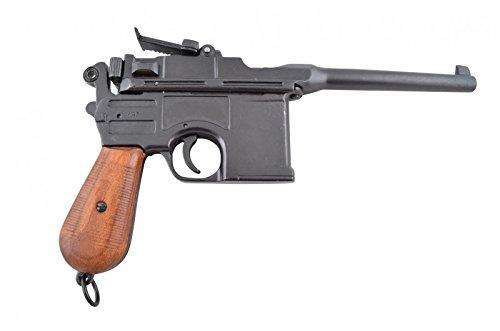 Deko Waffe Mauser C96 Pistole, schwarz mit Holzgriff 1896