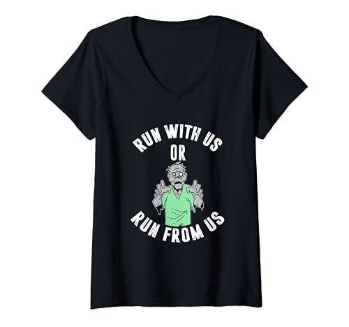 Damen Run with us or run from us T-Shirt mit V-Ausschnitt