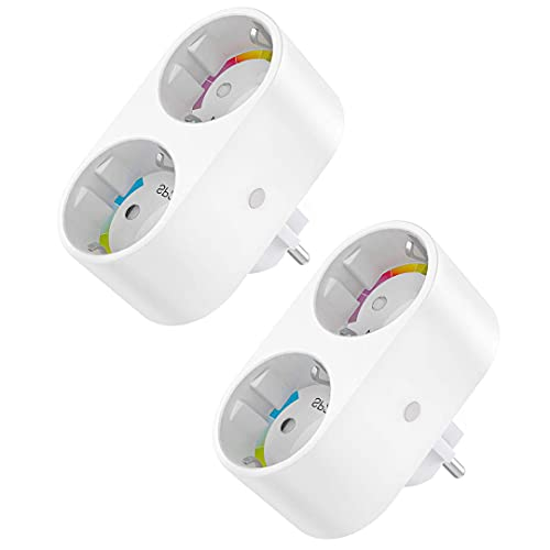 Smart WLAN Steckdose, Alexa Steckdose Plug 2 in 1, Stromverbrauch...