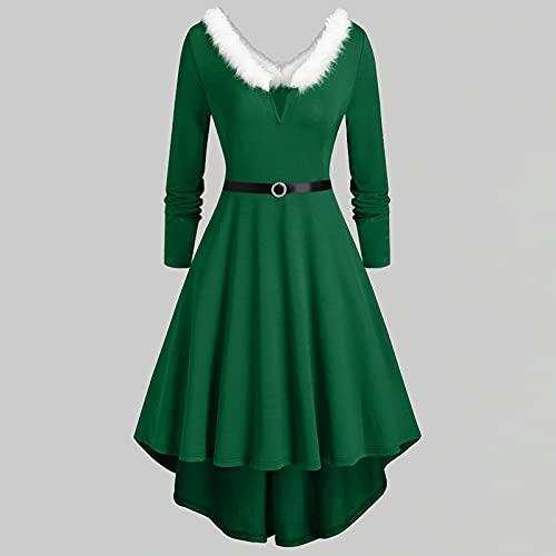 Winterkleid Damen, Langarm Rot Weihnachtskleider Faltenrock...
