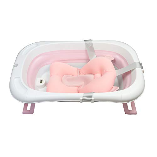 LinaSmile faltbare Baby Badewanne stabil mit Thermometer und...