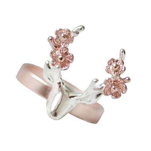 HEALLILY 1Pc Deer Ring Rentier Ring Rose Gold Finger Ring Schmuck...