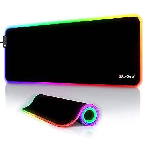 RuoCherg RGB Gaming Mauspad, LED Mauspad Groß, 800x300x4mm...