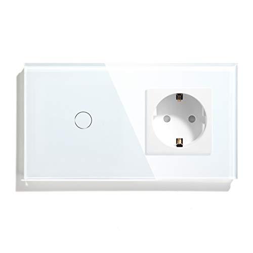 BSEED Touch Lichtschalter mit Steckdose 1 Fach 1 Weg...