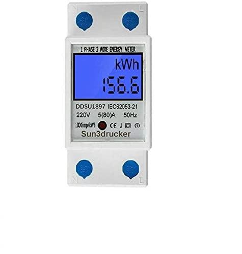 LCD Digitale Stromzähler Wechselstromzähler Hutschiene KWh...