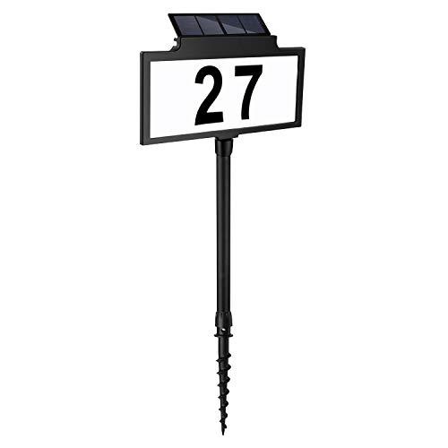 LeiDrail Solar beleuchtete Hausnummer mit Lampe Solarhausnummer...