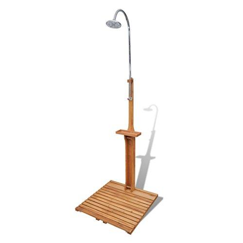 Festnight Gartendusche Pooldusche Outdoordusche Garten Außendusche aus Holz mit Duschkopf