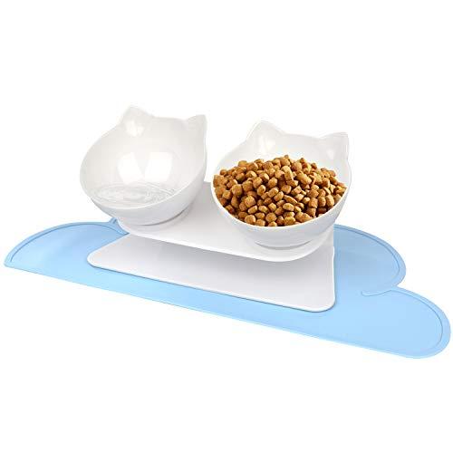 Katze Futternäpfe mit Futtermatten, Katzennäpfe Set, VIKEDI...