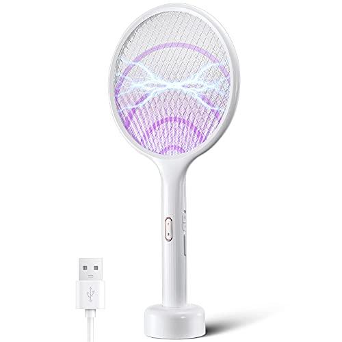 Yissvic Elektrische Fliegenklatsche extra stark 4000V 2 in 1 USB...