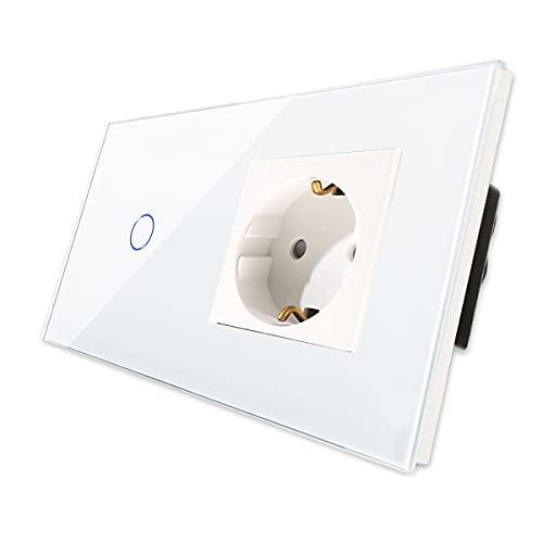 CNBINGO Schuko Steckdose mit Lichtschalter - mit Touch-System...