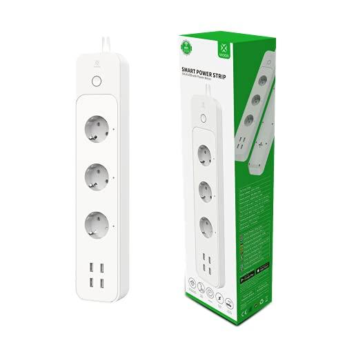 smart steuerbare 3 Fach Mehrfachsteckdose 4 USB,...