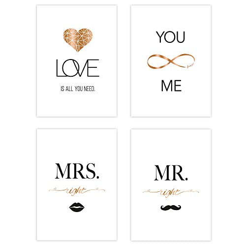 Poster-Set Collage DIN A4 True Love - schwarz-weiß rose-gold -...