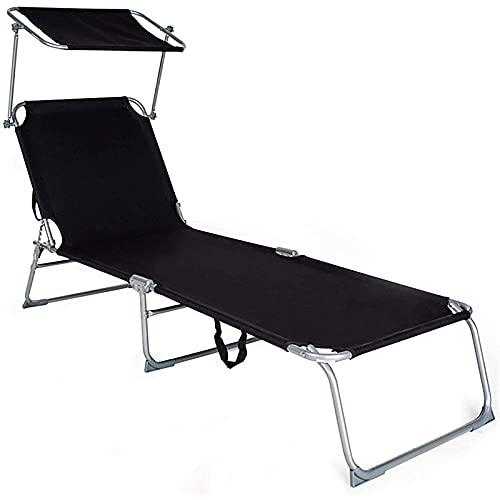 JNOI Folding Chaise Longue, Einstellbarer Strandstuhl mit...