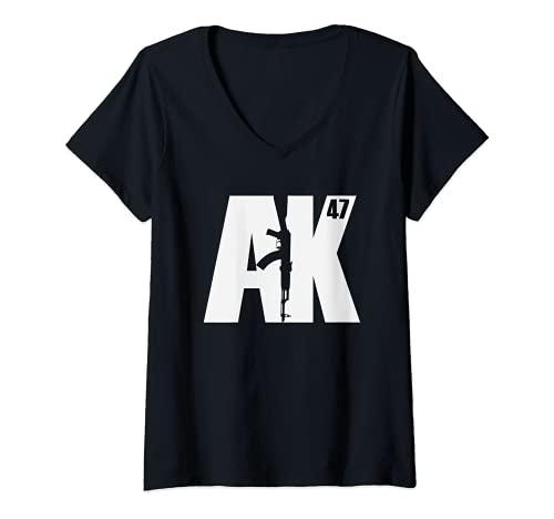 Damen AK-47 Soviet Kalashnikov T-Shirt mit V-Ausschnitt