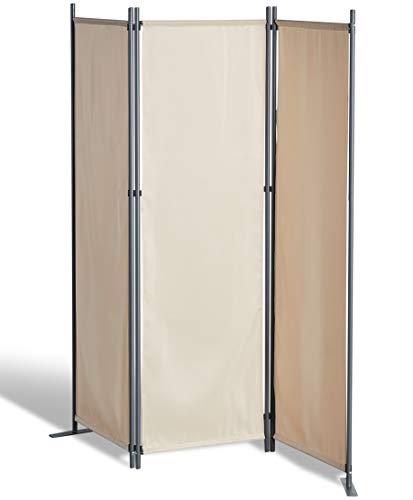 GRASEKAMP Qualität seit 1972 Stellwand 165x170 cm dreiteilig - beige - Paravent Raumteiler...