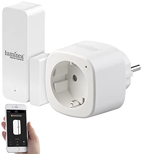 Luminea Home Control Alexa-Türsensor: Set aus WLAN-Tür- und...