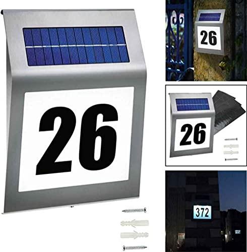 Solar Beleuchtete Hausnummer Mit 2 LED Solarhausnummer...