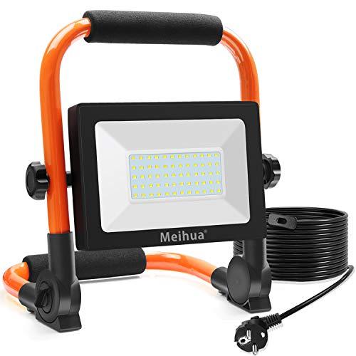 MEIHUA 60W LED Baustrahler 6000LM LED Strahler IP66 Wasserdicht...