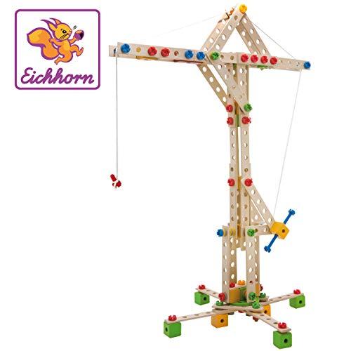 Eichhorn 100039046 - Constructor Windrad - vielseitiges Holzspielzeug 300 Bauteile, 8...