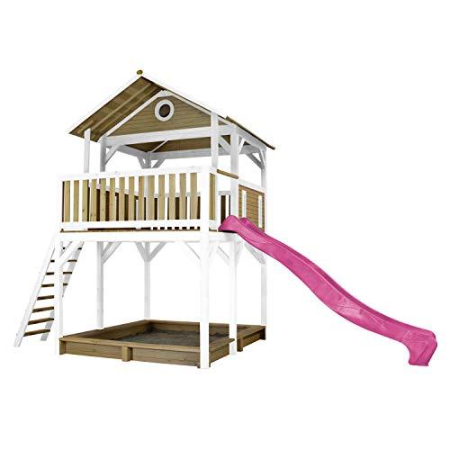 AXI Spielhaus Woody mit Sandkasten & lila Rutsche | Stelzenhaus...
