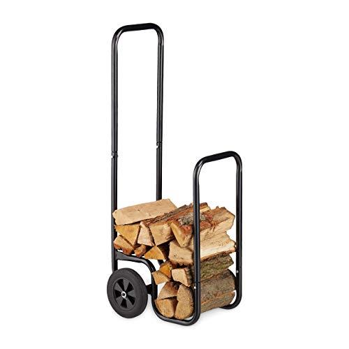 Relaxdays Kaminholzwagen, Brennholzkarre aus Stahl, mit 2...