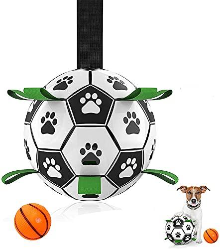 MYPIN Hundefußball mit Haltegriffen, interaktives Hundespielzeug...