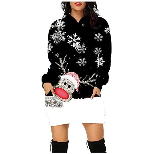 Weihnachtspullover Damen,Lustig Langarm Weihnachtskleider...
