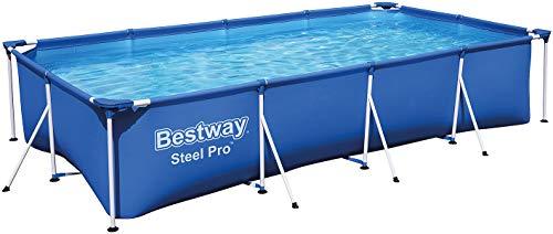 Bestway Frame Pool Steel Pro, Set mit Filterpumpe, 400 x 211 x 81...