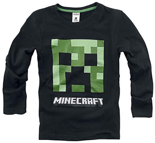 Minecraft Creeper Langarmshirt schwarz 116 100% Baumwolle...