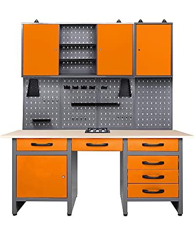 Ondis24 Werkstatt Set Jerry Orange 160 cm, versenkbare Steckdose,...