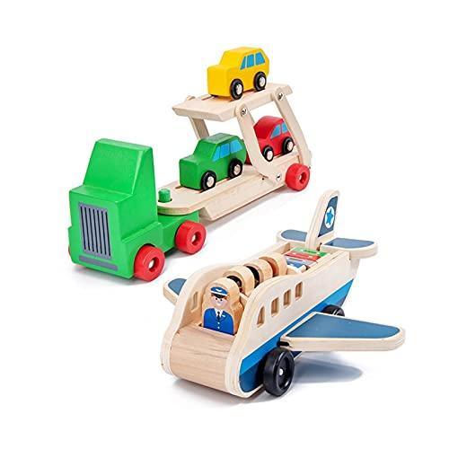HEMOTONE Kinder Holz Doppeldecker Truck Flugzeug Transport Set...