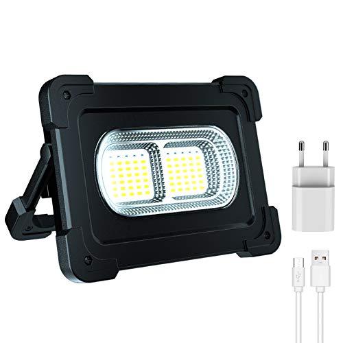 Hacevida LED Baustrahler Akku 80W, LED Arbeitslampe 10000mAh /...