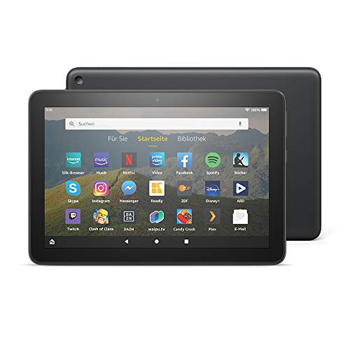 Fire HD 8-Tablet, 8-Zoll-HD-Display, 32 GB, Schwarz, Mit Werbung, für Unterhaltung...