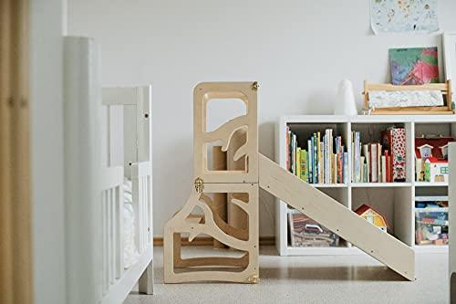Kinder Lernturm 3 in 1 Tritthocker Schreibtisch Rutsche...