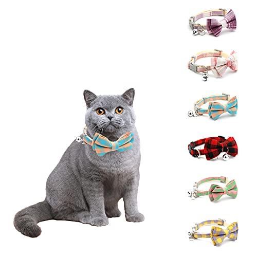 KNMY 6 Stück Katze Halsband, Katzenhalsband Mit Schleife...