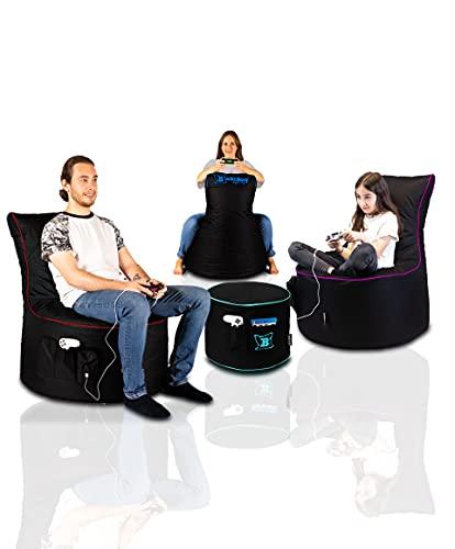 Maverick Gaming Set Sitzsack mit Sitzhocker/Fußbank Schwarz mit...