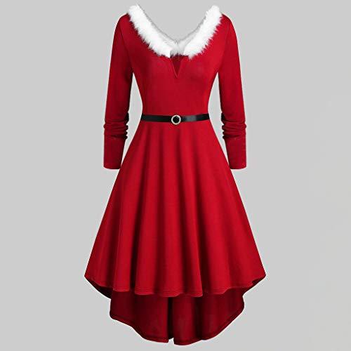 Winterkleid Damen, Elegant Sexy Weihnachtsoutfit Faltenrock...