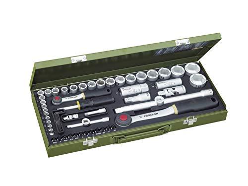 PROXXON Steckschlüsselsatz, Komplettkasten mit 1/4'-und 1/2'-Umschaltratsche sowie...