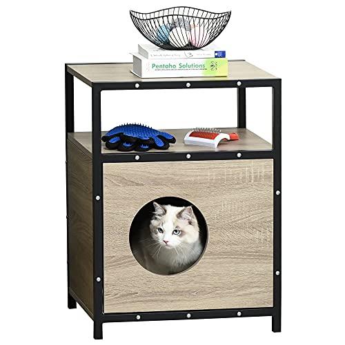 Pawhut Katzenhaus mit Tür Katze Schrank Katzenhöhle...