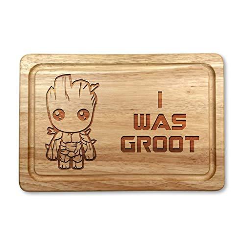 """Schneidebrett aus Hartholz, Aufschrift """"I was Groot"""""""