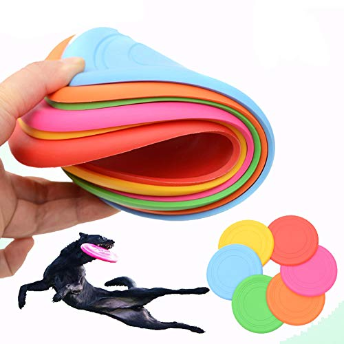 INTVN 6 Stück Frisbee für kleine Hunde Hundefrisbee ,Silikon...
