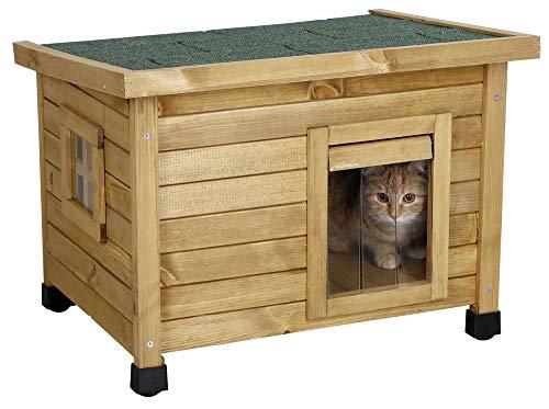 Kerbl Katzenhaus Rustica (Katzenhütte aus Holz, Schwingtüre mit...