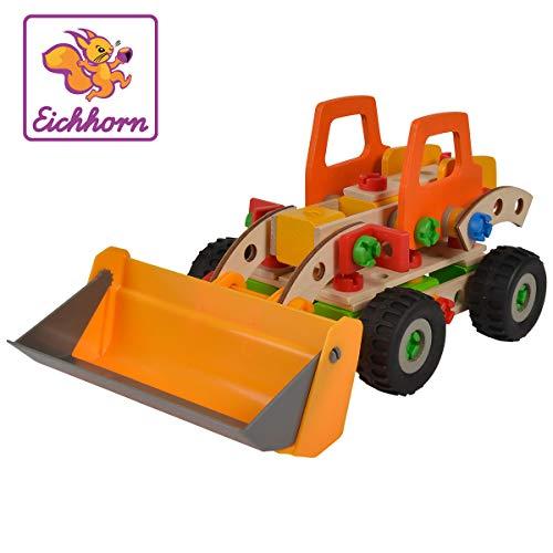 Eichhorn 100039057 Constructor Radlader vielseitiges Holzspielzeug, 140 Bauteile, 6...