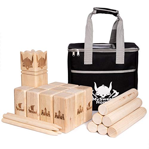 MSH XXL Kubb [Premium] Wickingerschach Holz Vikinger Schach aus Gummibaum Holz – Kubb Spiel...