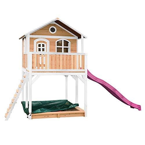 AXI Spielhaus Andy mit Sandkasten & lila Rutsche | Stelzenhaus in...