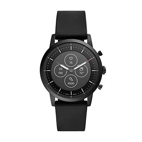 Fossil Herren Hybrid Smartwatch Collider HR Silikon Schwarz