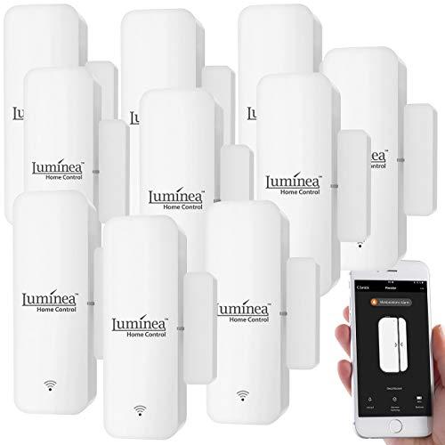 Luminea Home Control Fenster Sensor: 10er-Set WLAN-Tür- &...