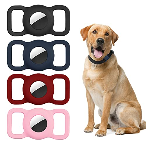 Criacr Silikon Schutzhülle für AirTag Hundehalsband, 4 Stück...